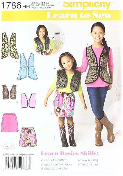 Simplicity Learn to Sew Pattern 1786 Girls Vests and Skirt Sizes 3-4 ...