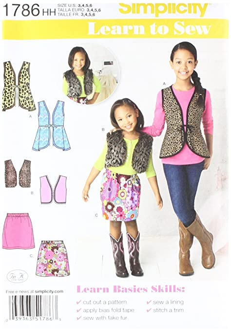 Simplicity Pattern 1786hh 3 6 Learn To Sew Childs And Girls