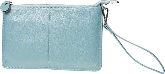 Gostwo Genuine Leather Small Shoulder Bag Wristlet Clutch Purse with Card Slots(Blue Light) best women's wristlets