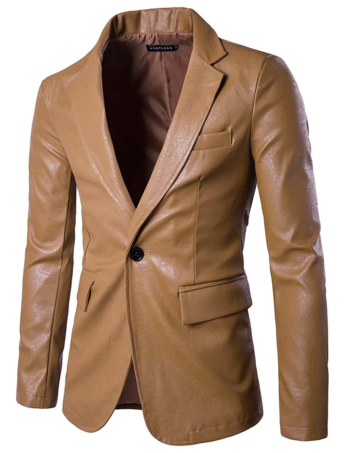 WHATLEES Mens Slim Fit Single Breasted One Button PU Leather Blazer Jacket
