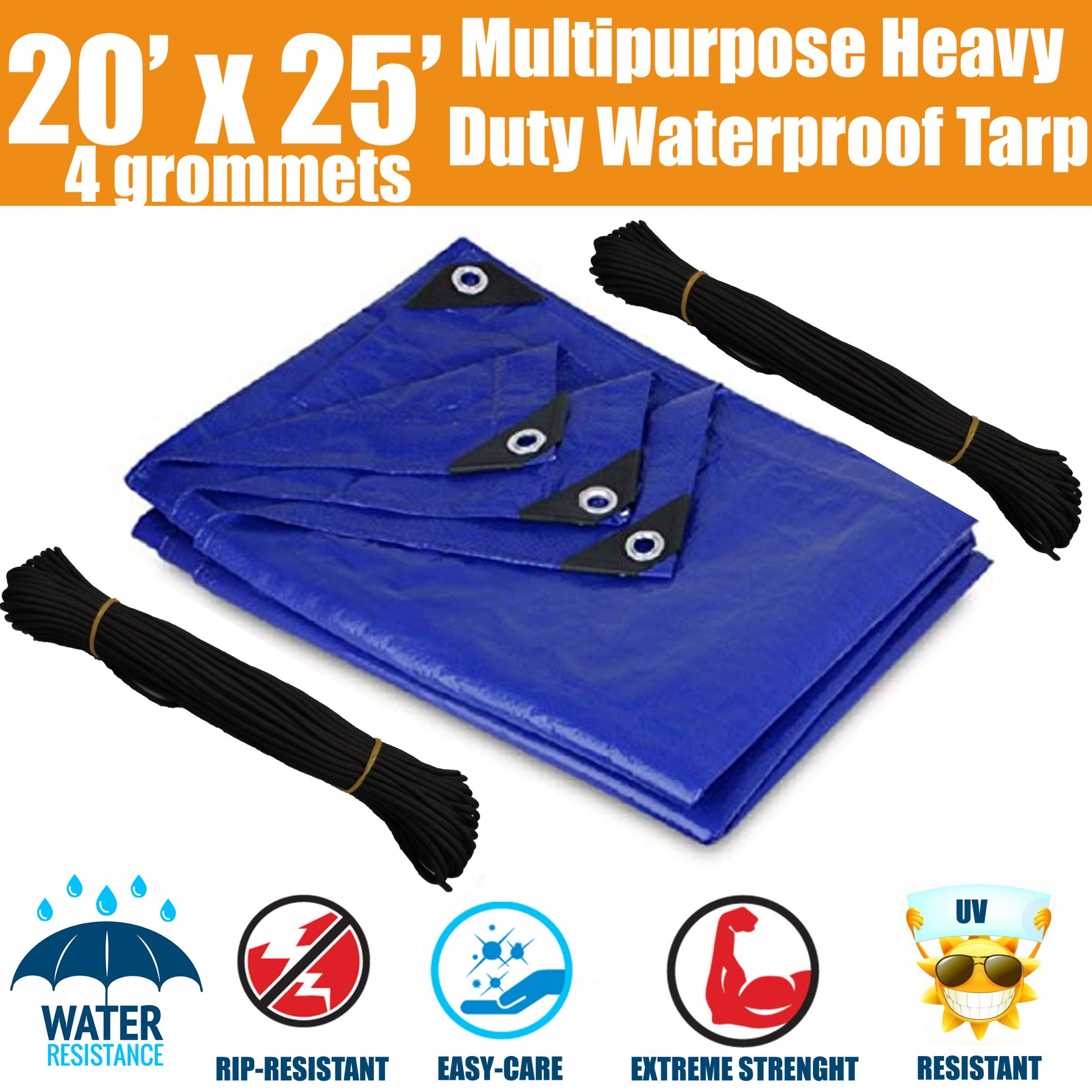 20'x25' Heavy Duty Waterproof Tarps - Multi-Purpose Blue Tarpaulin with 4 Grommets, Reinforced Edges and Nylon Paracord for Outdoor Rain Shelter, Ground Cover, Boat, RV or Pool Cover by N1Fit