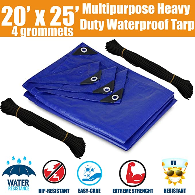 img buy 20'x25' Heavy Duty Waterproof Tarps - Multi-Purpose Blue Tarpaulin with 4 Grommets, Reinforced Edges and Nylon Paracord for Outdoor Rain Shelter, Ground Cover, Boat, RV or Pool Cover