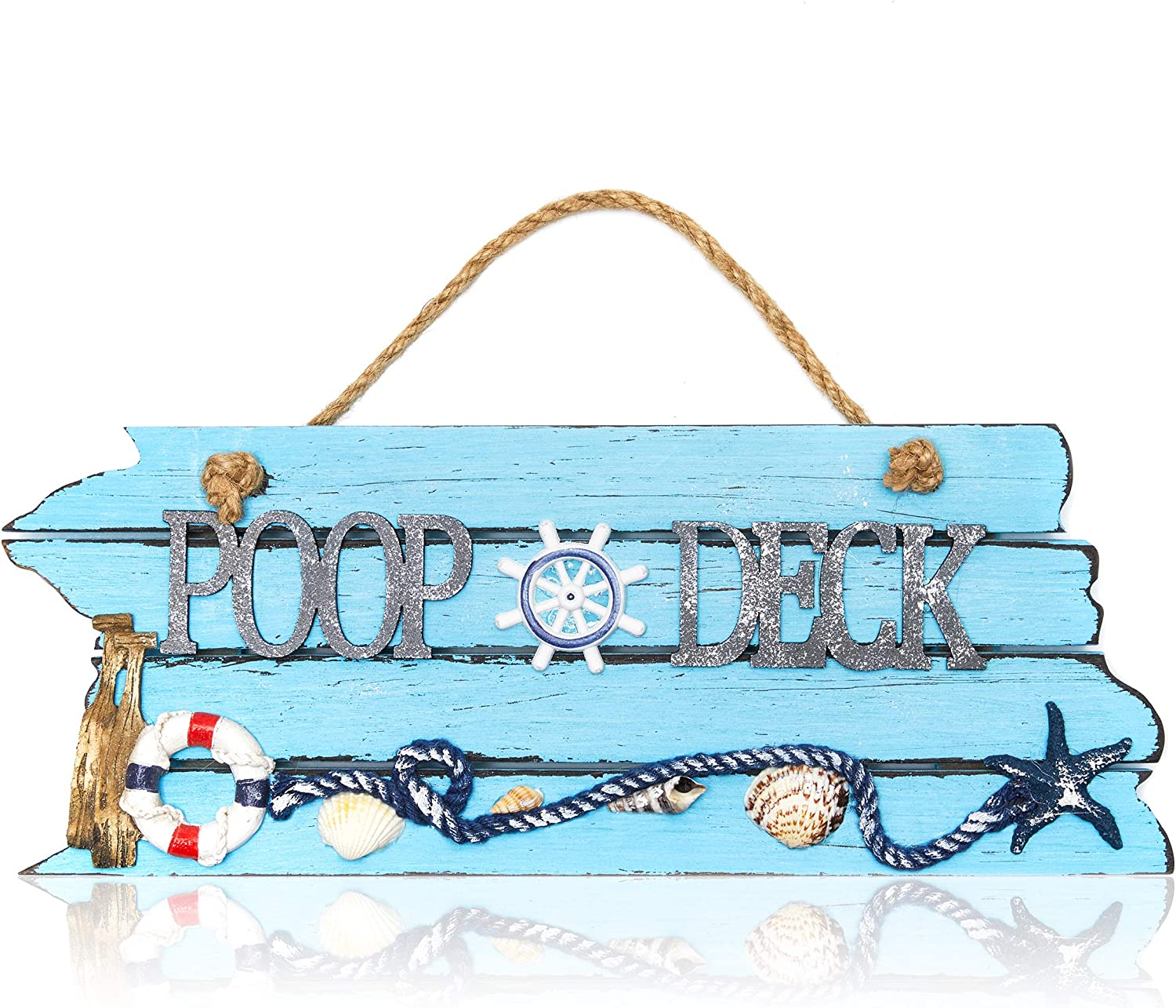 Blue Nautical Poop Deck Hanging Wall Sign Beach Ocean Theme (12 x 7.5 In)