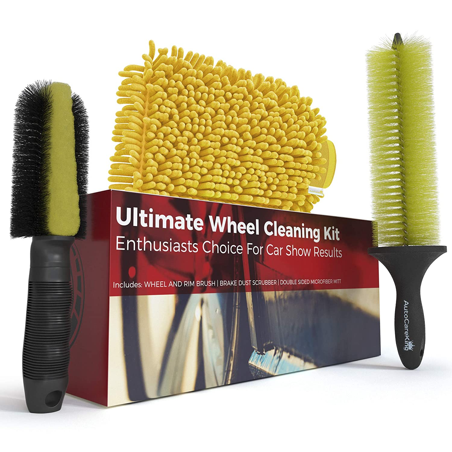 Car Wash Brush and Wheel Cleaner Kit – Includes Rim Cleaner Wheel Brush, Brake Dust Tire Brush and Microfiber Wash Mitt – Perfect Auto Detailing Supplies for Car, Truck and Motorcycle Enthusiasts Auto Care King