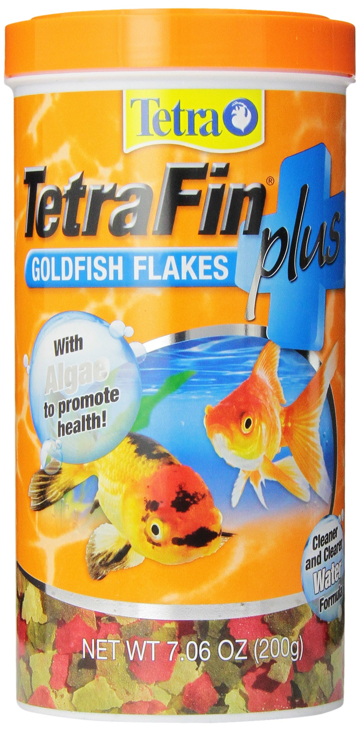 TetraFin Plus Goldfish Flakes 7.06 Ounces, Balanced Diet, With Algae To Promote Health