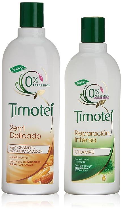 Timotei Champú Delicado + Champú Reparación Intensa Almendras 2 en 1-1 Pack
