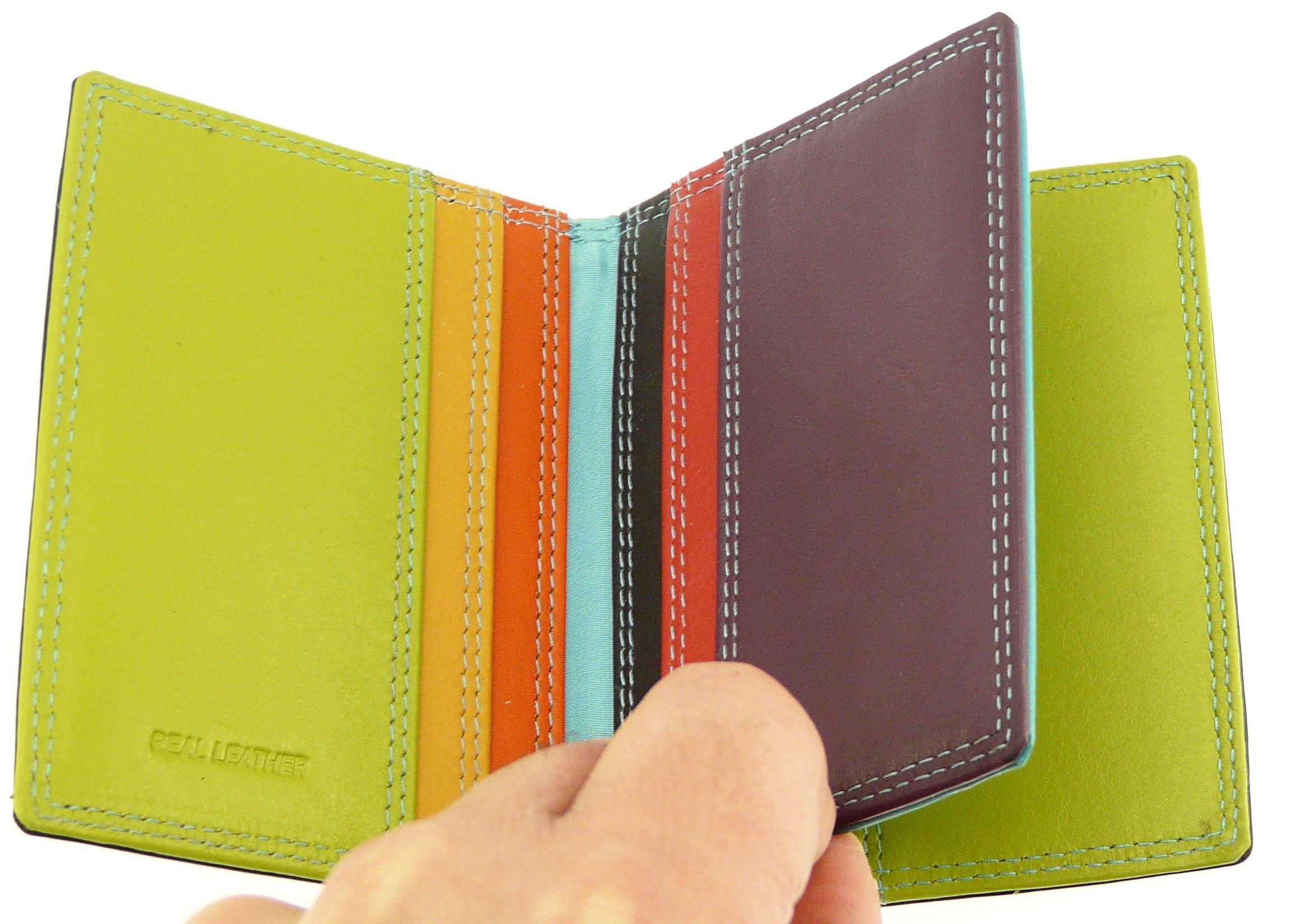 Black & Multi-color Leather Credit Card Holder / Wallet - Holds 10 Credit Cards by Neptune Giftware (Image #5)