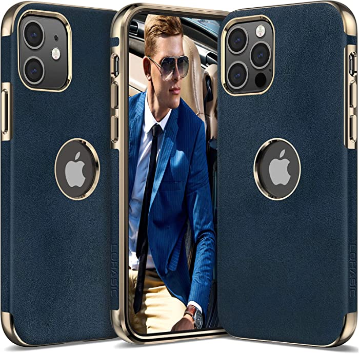 LOHASIC Leather for iPhone 12 Pro Case Men, for iPhone 12 Slim Phone Cover Vintage Women, Shockproof Protective Soft Bumper Hybrid Defender Compatible with iPhone 12/12 Pro 5G (2020) 6.1 Blue
