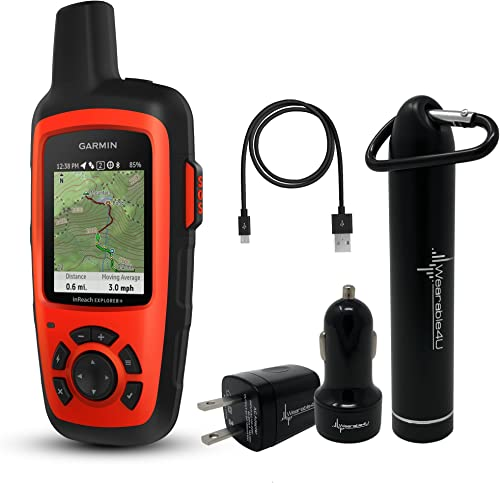 Garmin InReach Explorer Handheld Satellite Communicator with GPS Navigation, Maps, and Sensors 010-01735-10 and Wearable4U Ultimate Power Pack Bundle
