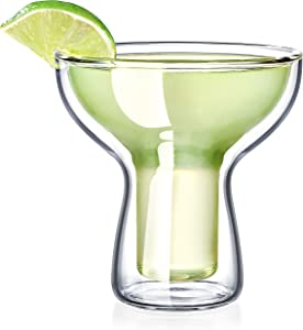 Dragon Glassware Margarita Glasses, Insulating Double Walled Bar Glasses, 12-Ounce, Set of 2