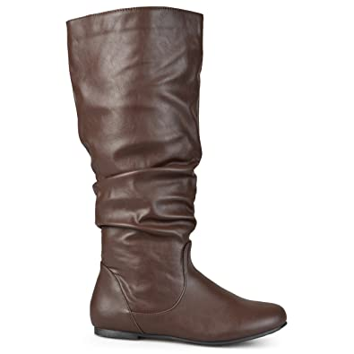 4046526eb412 Brinley Co. Womens Extra Wide-Calf Mid-Calf Slouch Riding Boots Brown