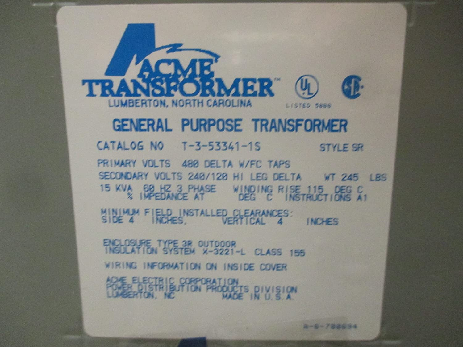 Hubbell Acme Electric T3533411s Dry Type Distribution Transformer 3 120 240 Volt Wiring Diagram Delta Phase 480v Primary Volts 240v Tap Secondary 60 Hz