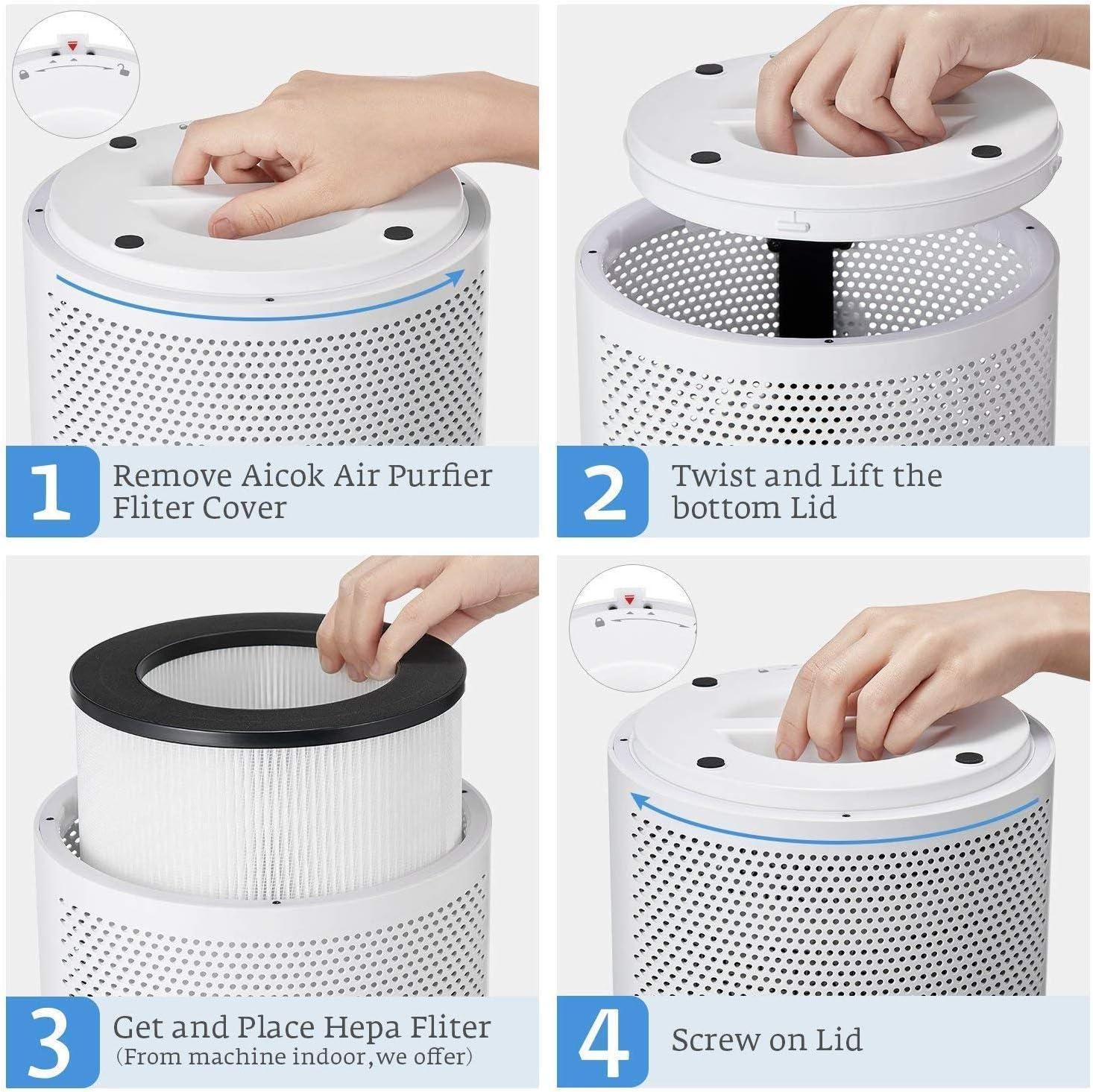 AICOK purificador de aire para el hogar fumadores y pelo de mascotas, verdadero filtro HEPA, silencioso en el dormitorio, sistema de filtración limpiador, eliminador de humo y polvo, luz nocturna, 2 años