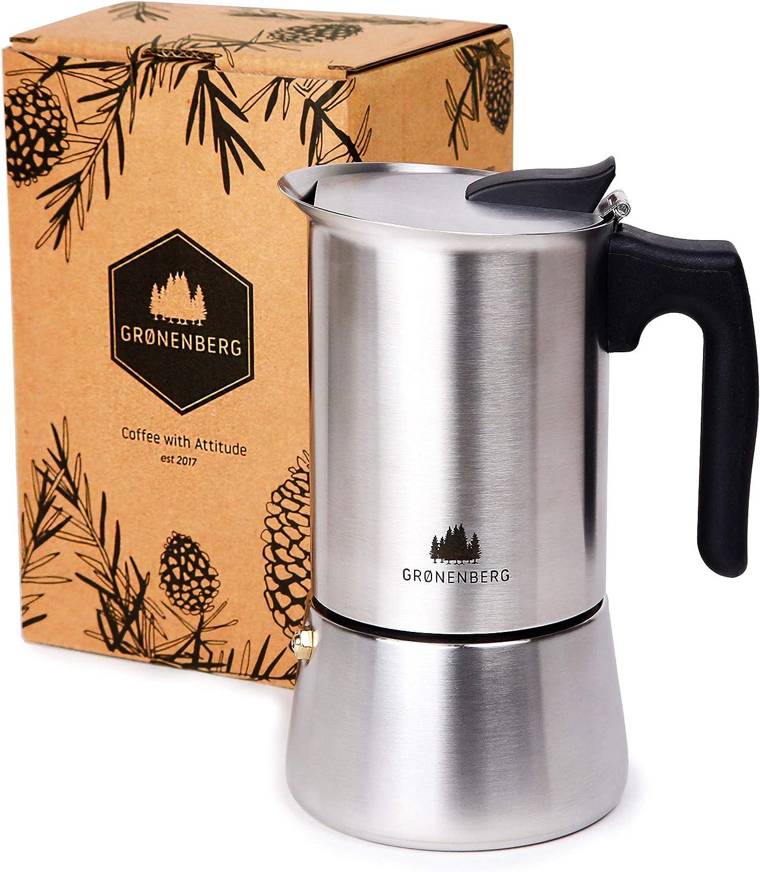 Groenenberg Cafetera Italiana inducción, 6 Tazas (300 ml) | Cafetera Espresso de Acero INOX | Moka Expresso Maker Incl. Junta de Silicona de Recambio e Instrucciones Paso a Paso | Sin Aluminio: Amazon.es: Hogar