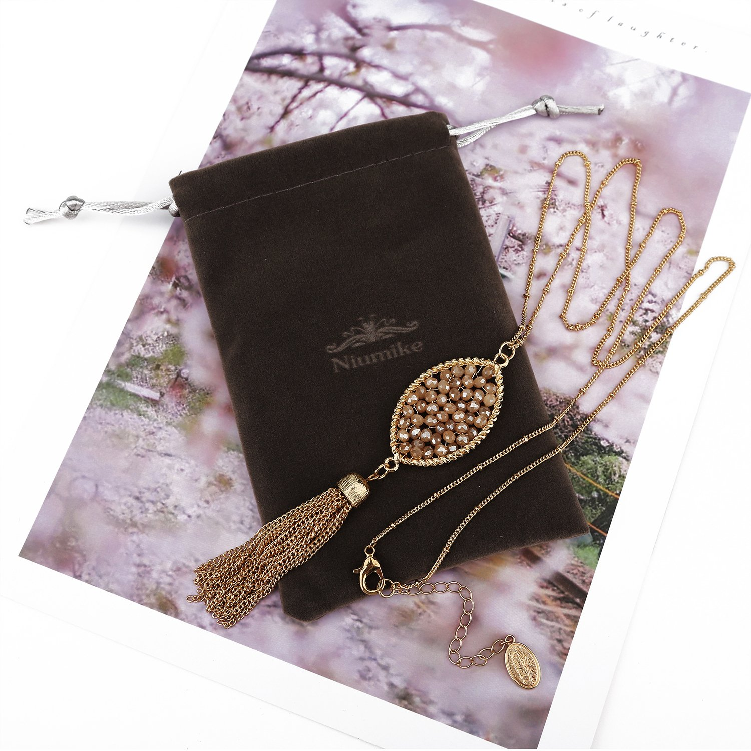 Niumike Crystal Hand Braided Oval Necklaces Long Chain Tassel Necklace Statement Jewelry,Free Flannel Bag Free Flannel Bag (White)