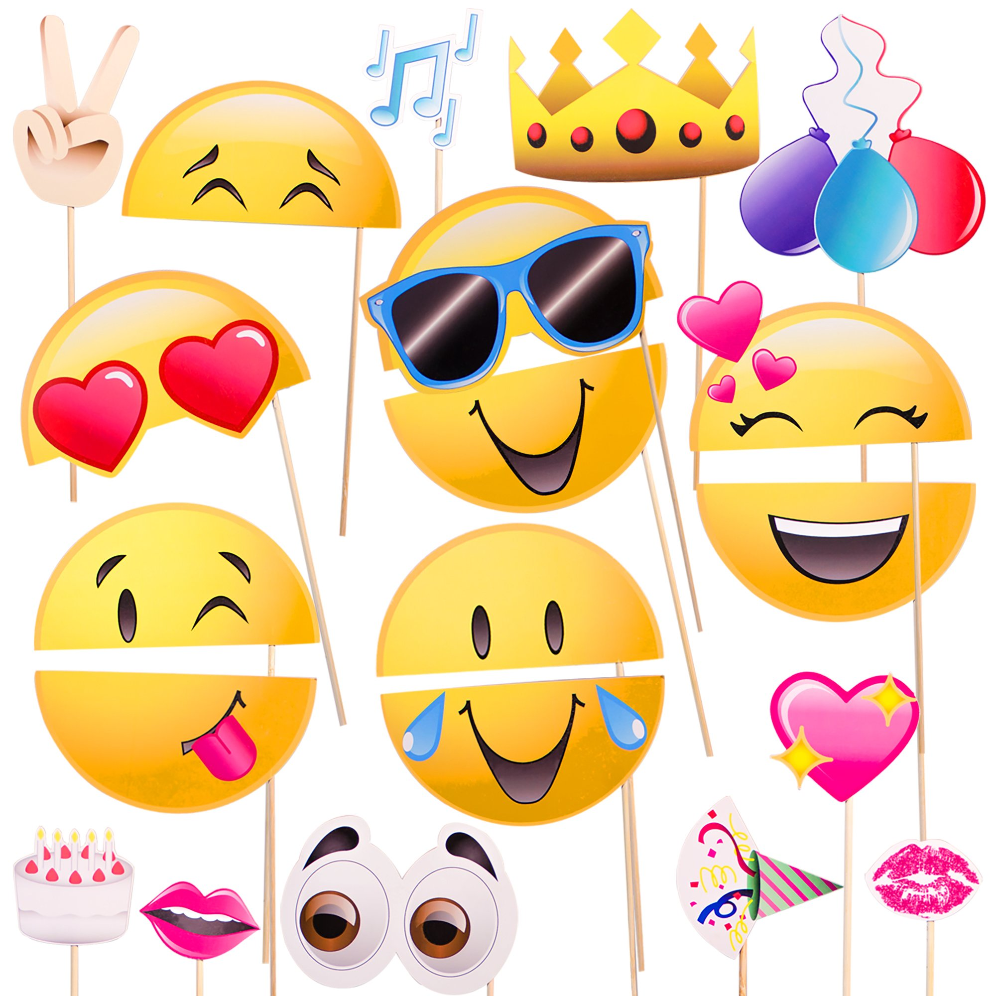 Emoji-Icon Smiley Face Photo Booth Prop Party Kit - 20 Pack