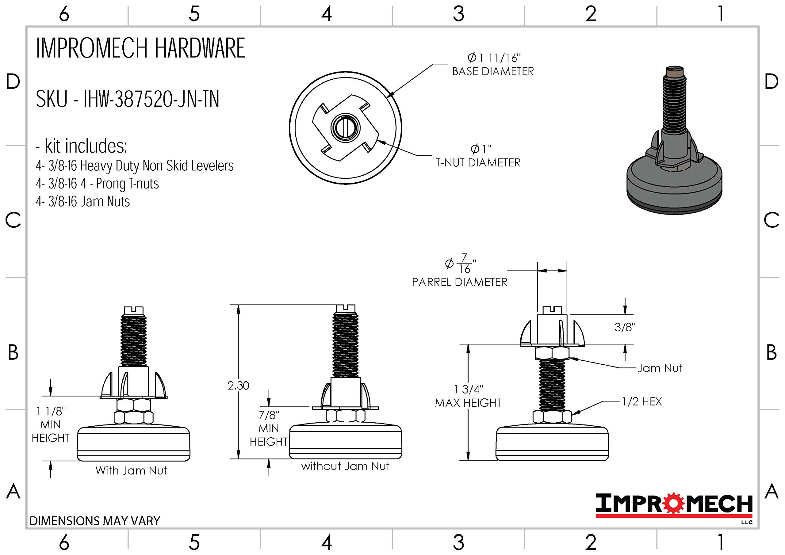 Heavy Duty Furniture Leveler Tee Nut Kit – Set of 4-3/8-16 Non-Skid Leg Levelers for Cabinets or Tables to Adjust Height of The Legs or Feet Jam Nuts to Stabilize Each Foot (Kit with 4 Prong T-Nuts) by Impromech Hardware (Image #4)