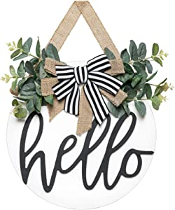 Dahey Rustic Hello Sign with Artificial Eucalyptus Front Door Decor Round Wood Hanging Sign Farmhouse Porch Decorations for Home Outdoor Indoor, White