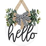Dahey Rustic Hello Sign with Artificial Eucalyptus Front Door Decor Round Wood Hanging Sign Farmhouse Porch Decorations for H