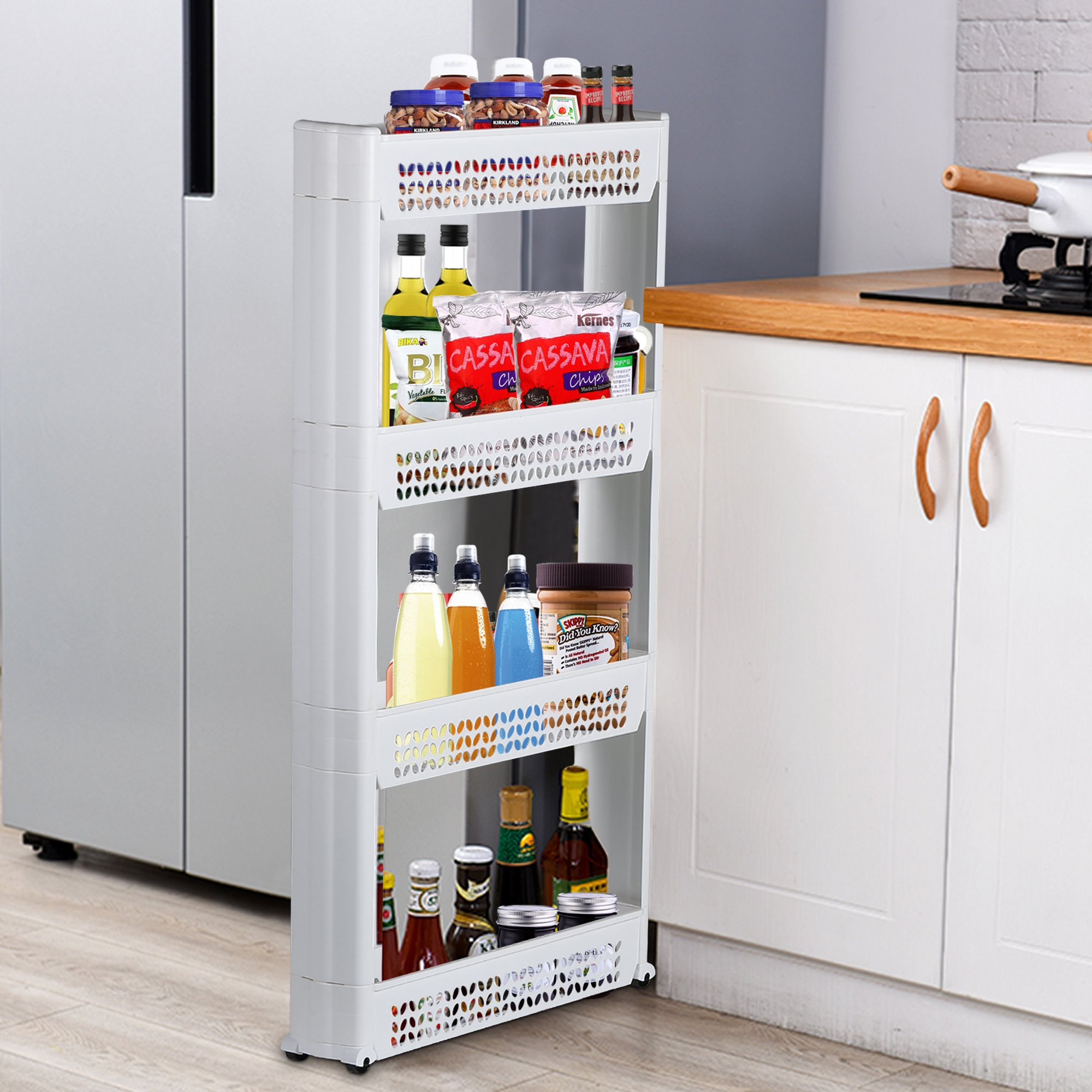 Famistar 4-Tier Gap Storage Organizer Slim Slide Out Tower Rack Shelf for Narrow Spaces,Ideal for Kitchen,Bath,Dining and Laundry Rooms