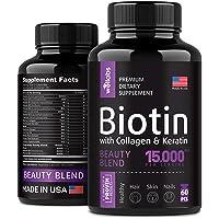 Biotin, Keratin & Collagen Pills - Marine Collagen & Biotin Vitamins for Hair, Skin...