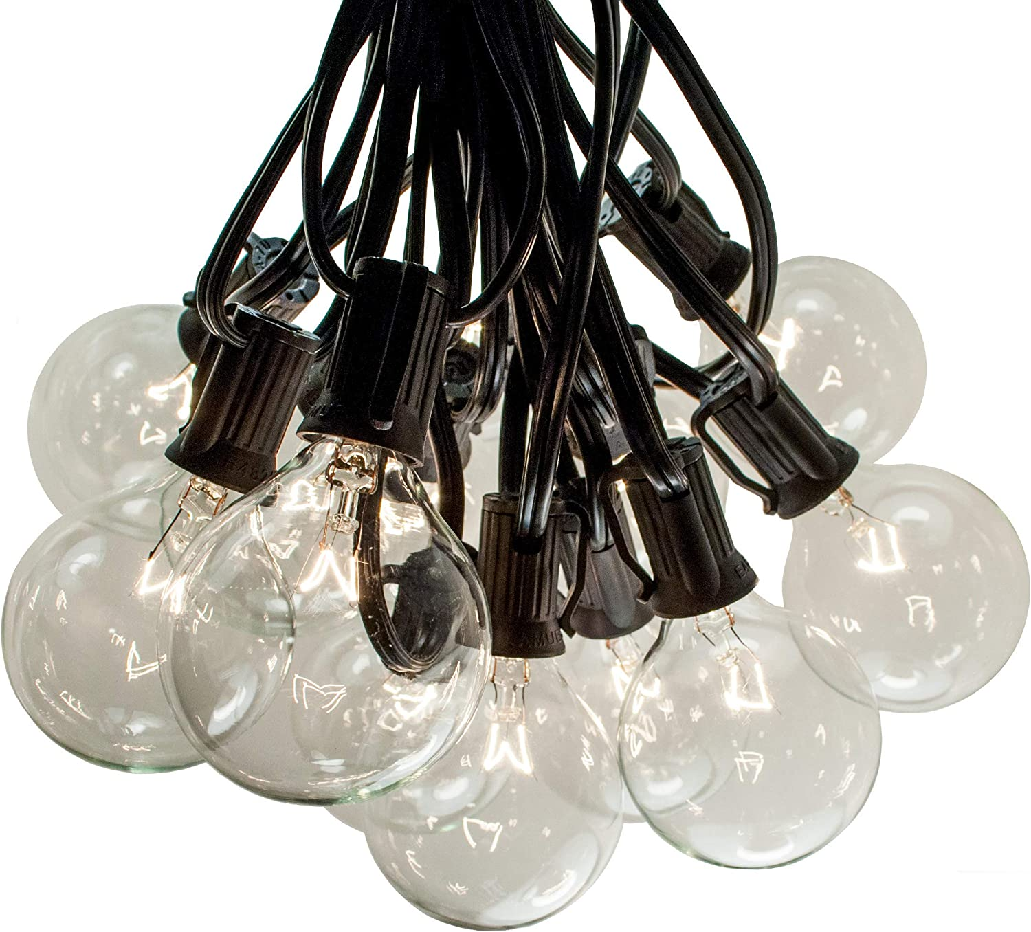 100 Foot Outdoor String Lights 105 G50 Clear 2 Bulbs 5 Extra Black Wire Globe String Lights For Patio Backyard Deck Bistro Cafe And Party Lighting Amazon Com