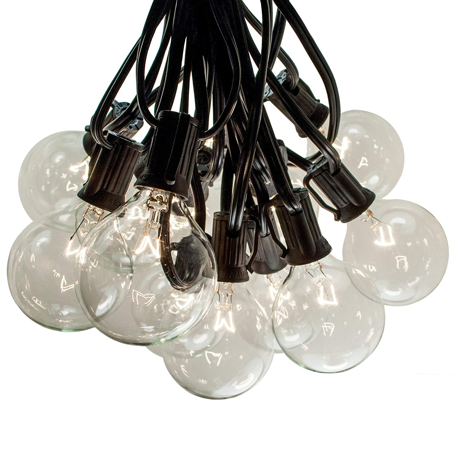 100 Foot G50 Patio Globe String Lights With 2 Inch Clear Bulbs For Wiring A Light Outdoor Lighting Black Wire