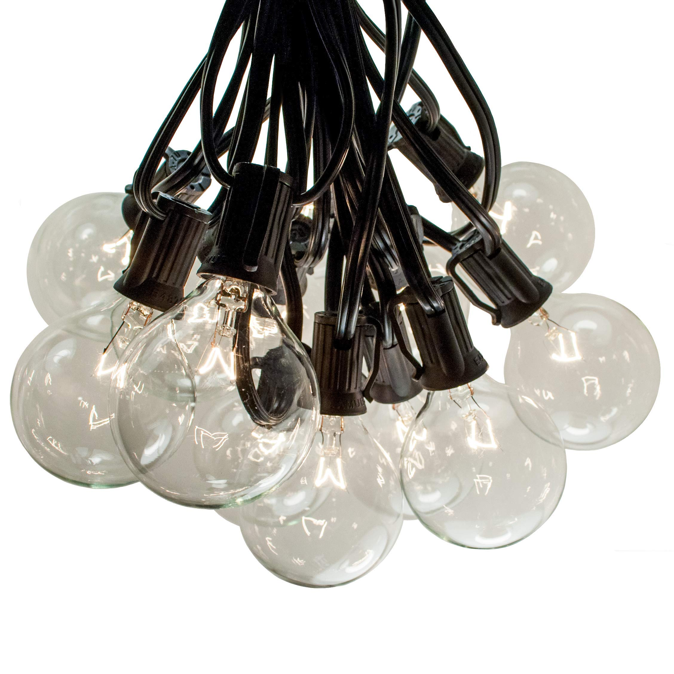 50 Foot G50 Patio Globe String Lights with 2 Inch Clear Bulbs for Outdoor String Lighting (Black Wire)