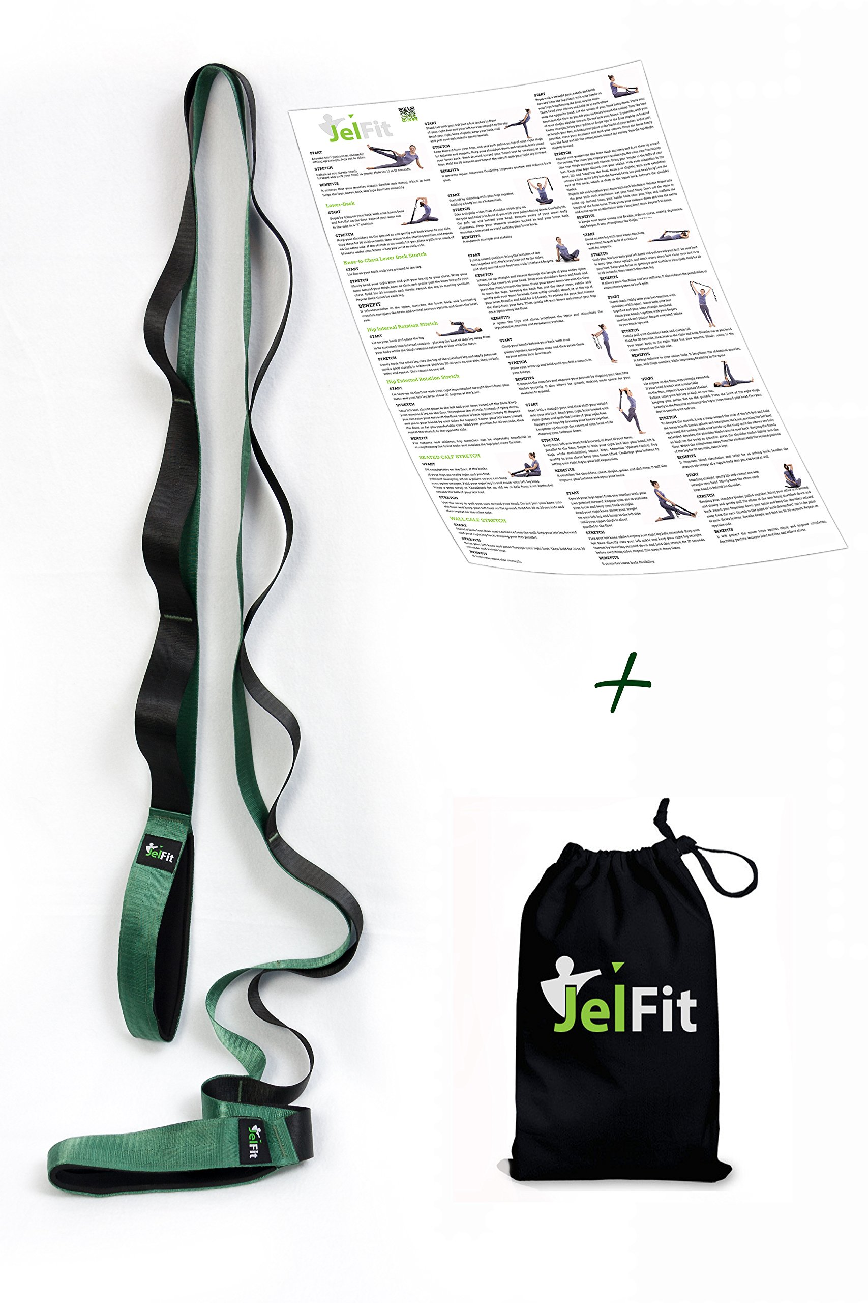 JelFit Stretching Strap with Multiple Handling Loops, Original Stretch Out Strap Exercise Band for Yoga, Physical Therapist & Athletes – Get Flexible, Deepen Your Stretches, Prevent Injuries + ePoster
