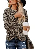 lamibaby Women's Casual Tops Leopard Print T-Shirt Basic with Crewneck Long Sleeve Soft Stretchy Blouse