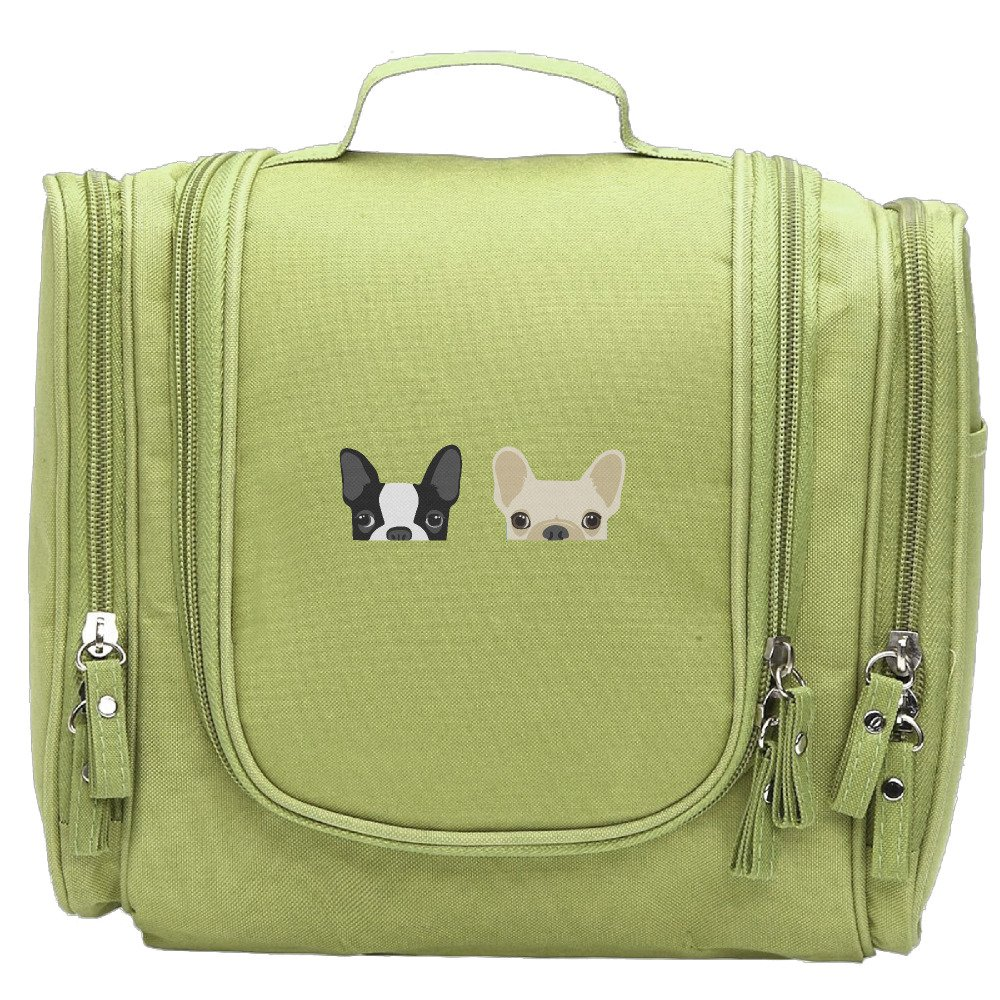 Women's Boston Terrier And French Bulldog Friends Makeup Organizer / Cosmetic Bag / Toiletry Bag / Hanging Travel Toiletry Organizer KellyGreen