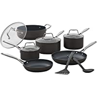 Amazon Brand – Stone & Beam Kitchen Cookware Set, 12-Piece, Pots and Pans, Hard-Anodized Non-Stick Aluminum