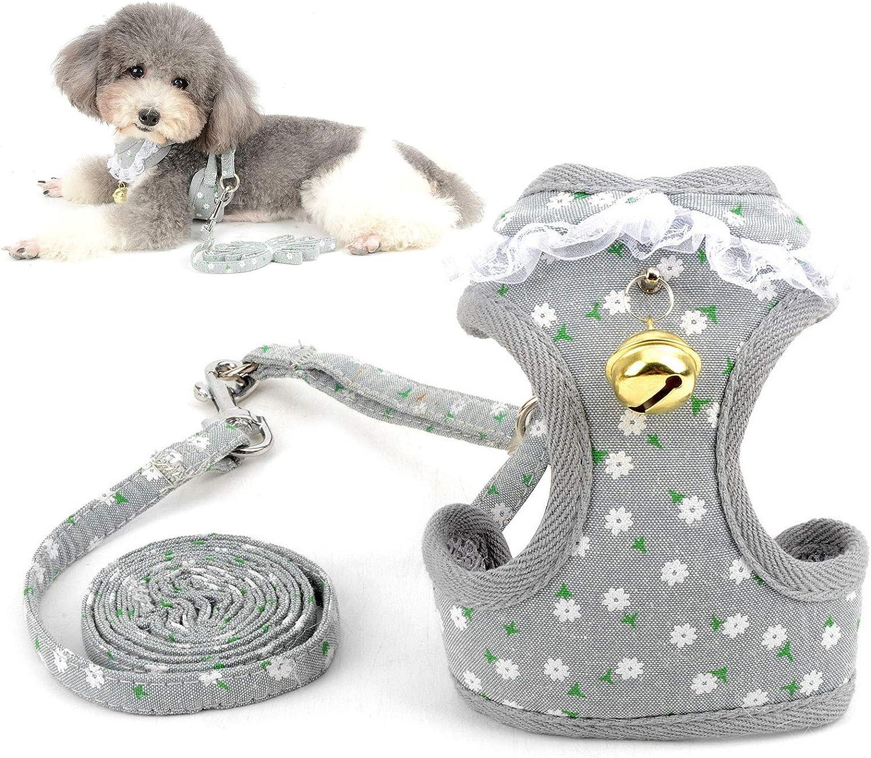 flores grises Smalllee/_lucky/_store S Juego de arn/és y arn/és para perro peque/ño para caminar a prueba de escape con correa de malla suave acolchada ajustable para cachorros Yorkie Chihuahua
