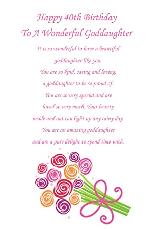 Goddaughter 40th Birthday Card