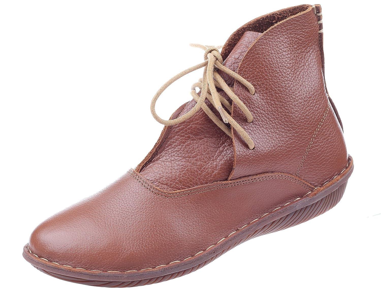 Vogstyle Botas de Cuero Para Mujer Nuevos Zapatos PlanosEU38/CH39|Estilo 1 Marrón
