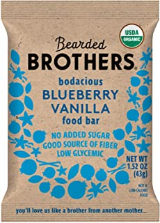 product image for Bearded Brothers Vegan Organic Food Bar | Gluten Free, Paleo and Whole 30 | Soy Free, Non GMO, Low Glycemic, No Sugar Added, Packed with Protein, Fiber + Whole Foods | Blueberry Vanilla | 12 Pack