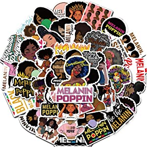 Pop Singer Melanin Poppin Stickers 50PCS for Laptop and Water Bottles,Waterproof Durable Trendy Vinyl Laptop Decal Stickers Pack for Teens, Water Bottles, Computer, Travel Case (Melanin Poppin)