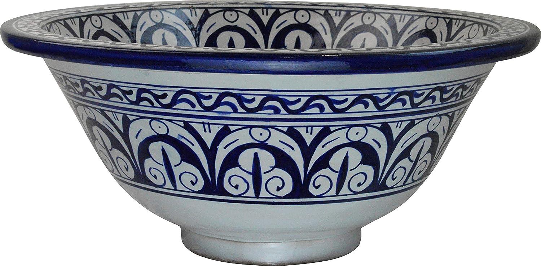 Petit lavabo de salle de bain en c/éramique peinte /à la main Rond peint /à lint/érieur Di 30 came H 14 cm