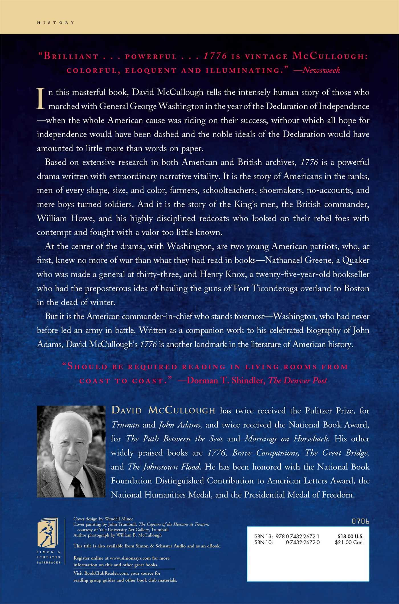 a summary of 1776 by david mccullough David mccullough's 1776 plot summary learn more about 1776 with a detailed plot summary and plot diagram.