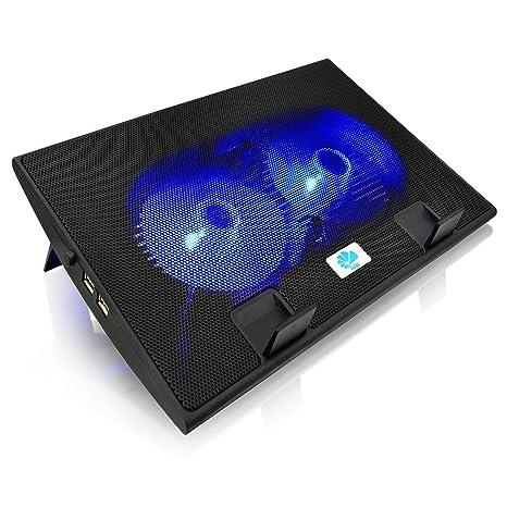 AAB Cooling NC35 - Bases de Refrigeración, Estable Construcción con 2 Ventiladores y Retroiluminación Azul