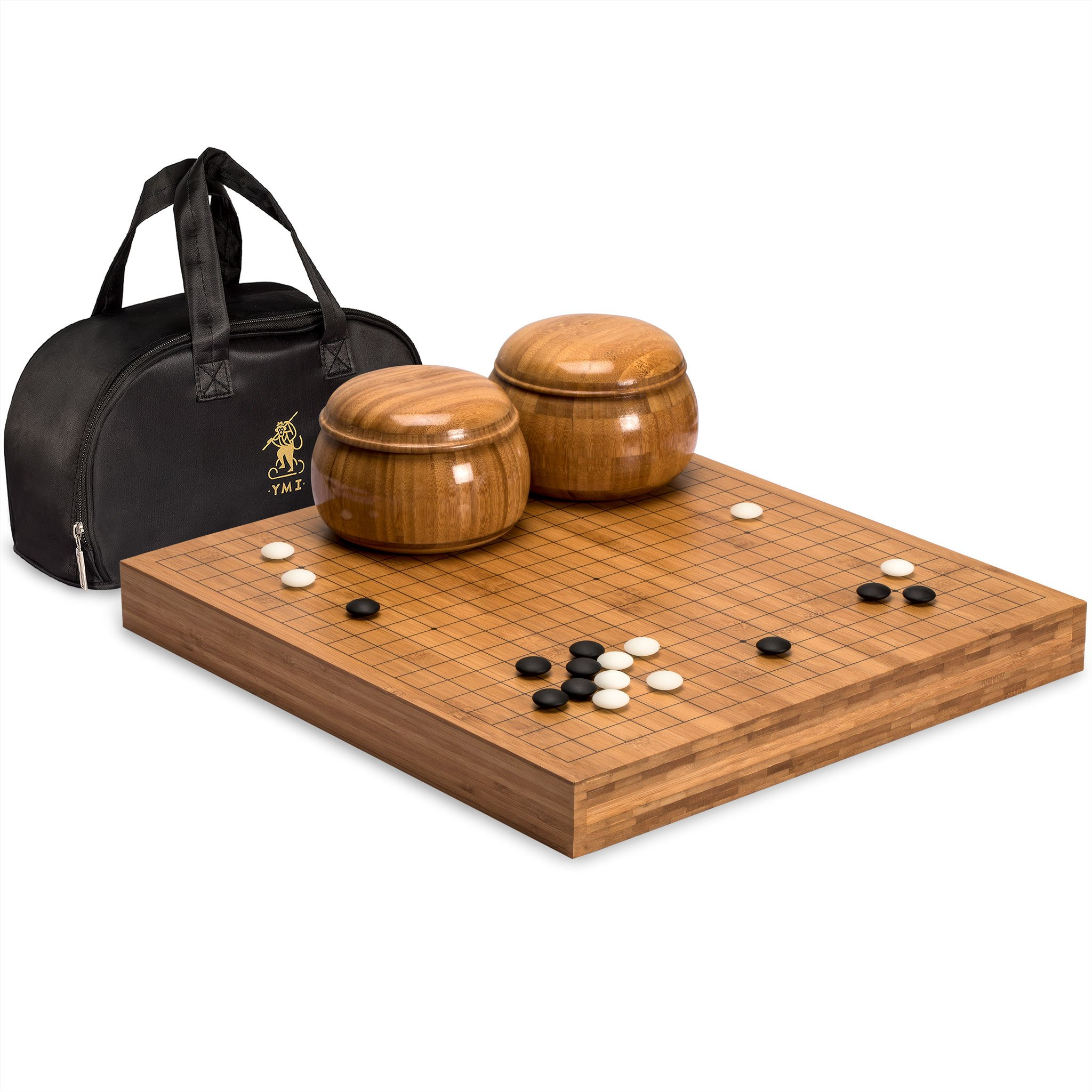 Go Game Set with Bamboo Go Board (2 Inches Thick), Double Convex Yunzi Stones and Bamboo Bowls by Yellow Mountain Imports