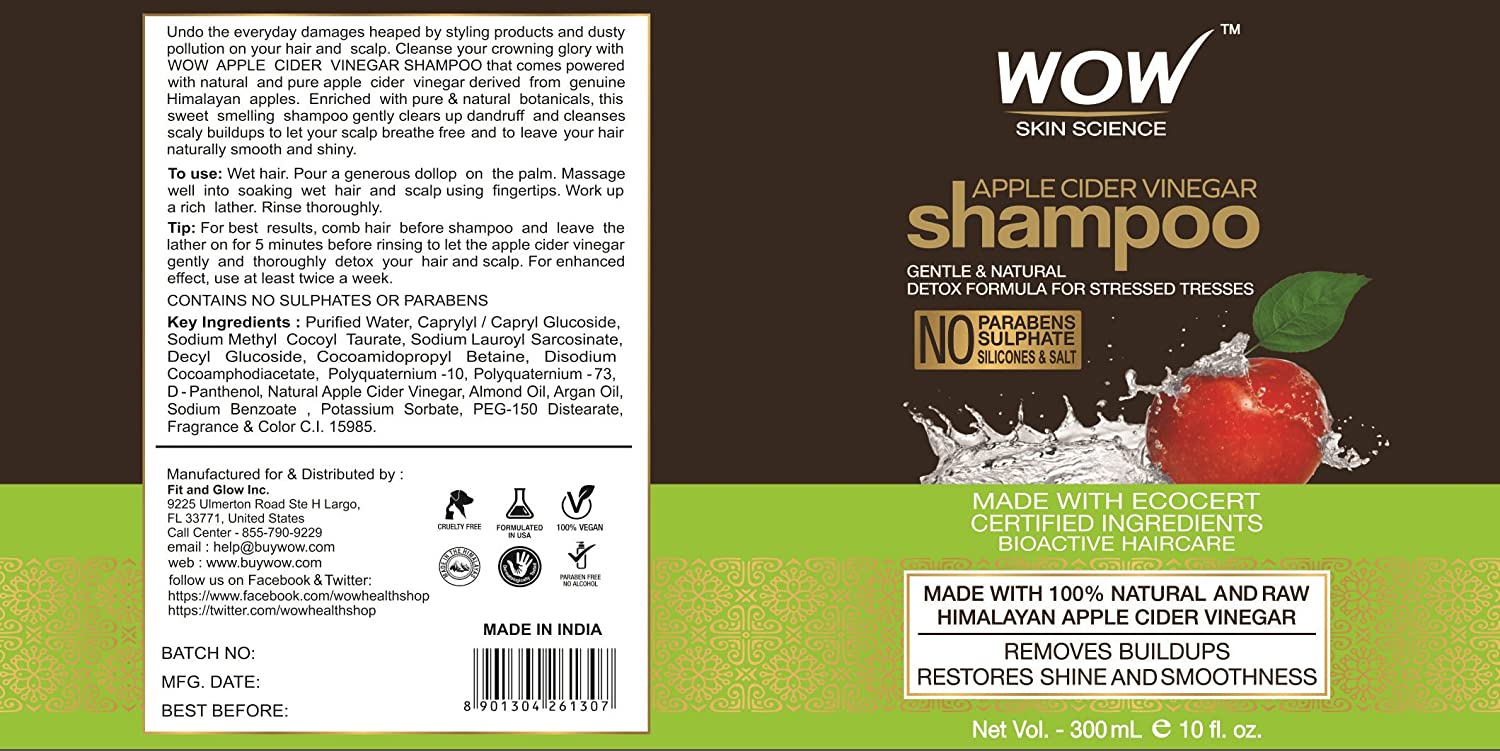 Wow Apple Cider Vinegar Shampoo Hair Conditioner Ovale Olive Oil 100 Ml Set 300ml Each Sulphate Paraben Free 1 Pack Combo Beauty