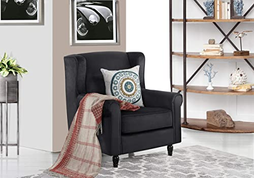 Classic Scroll Arm Velvet Fabric Accent Chair, Living Room Armchair Black