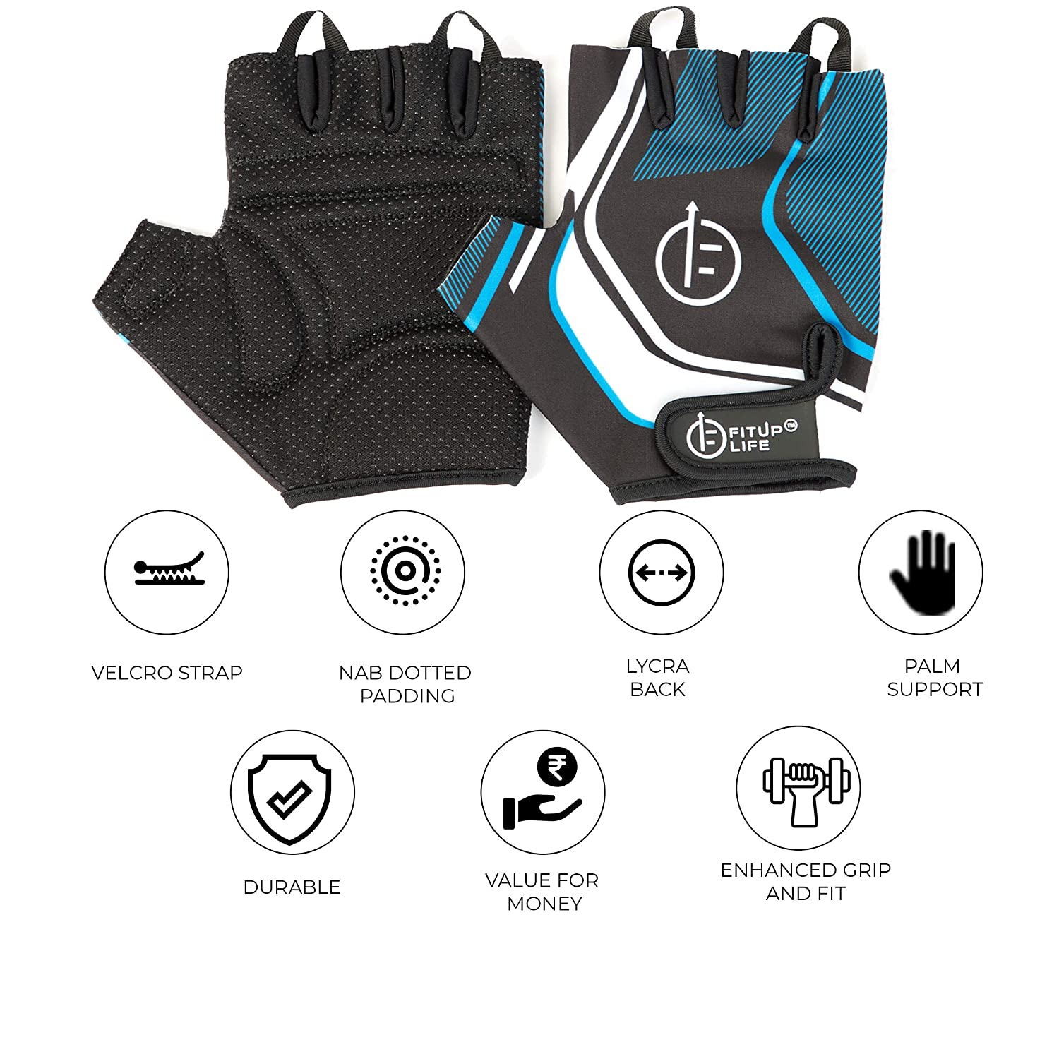 Fitup Life Gym Gloves with Adjustable Velcro Strap & Dotted Padding
