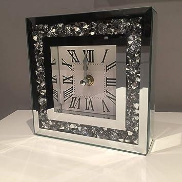 New crushed jewel mirror table clock roman numbers diamante mirror glass clock