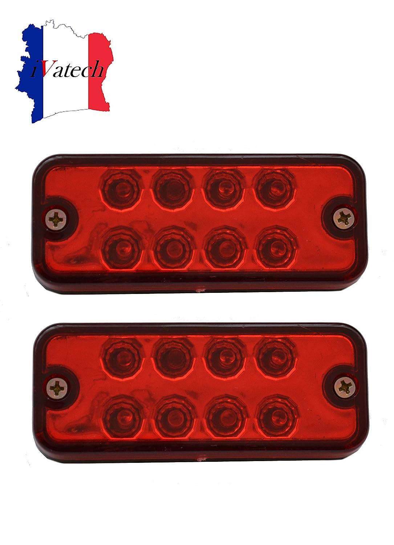 IVATECH 2 X 12V 8 SMD LED ROUGE FEUX DE GABARIT CAMION CARAVANE SHASSIS REMORQUE BUS SIALENI