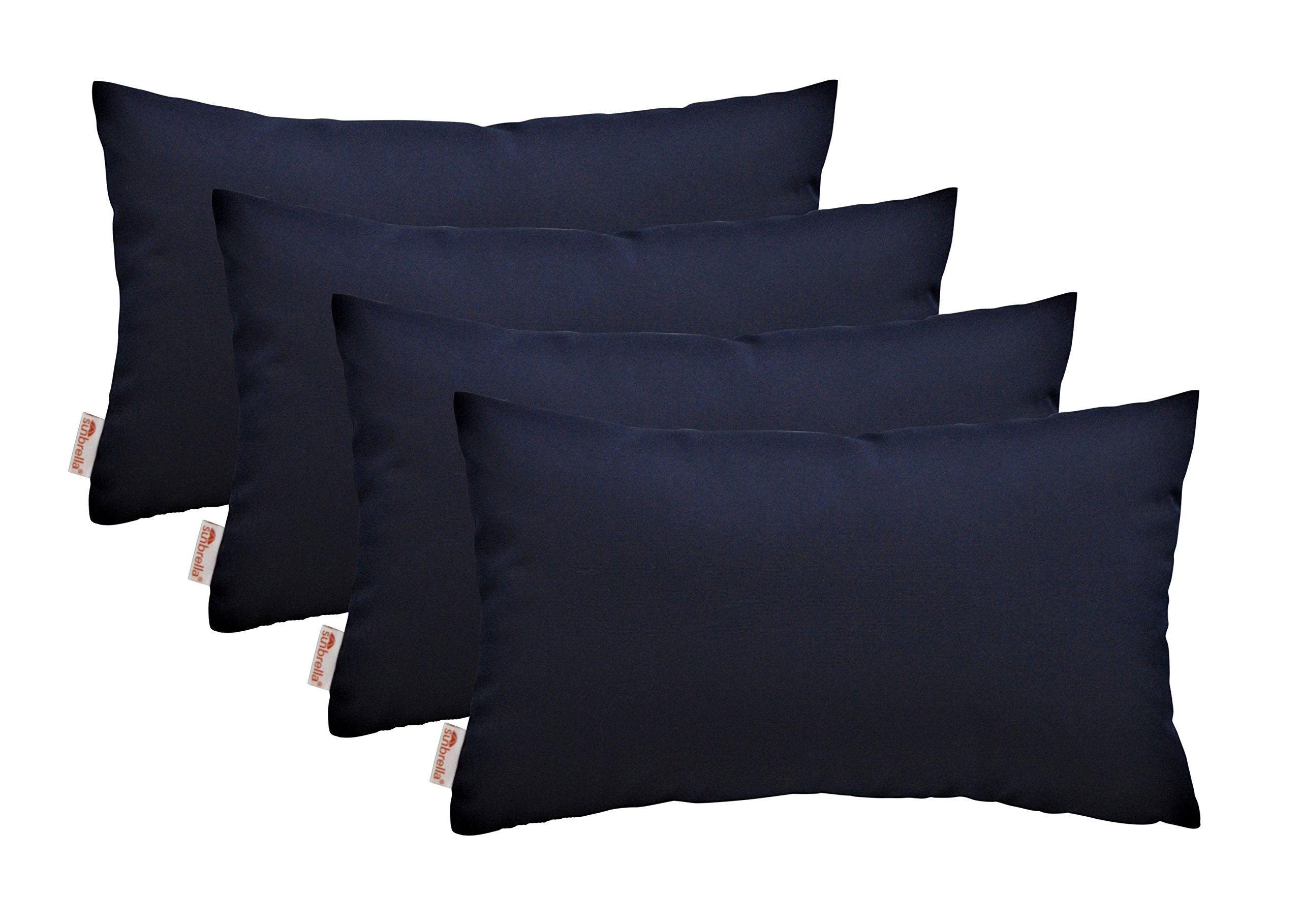 RSH Décor Set of 4 Indoor Outdoor Decorative Rectangle Lumbar Throw Pillows Sunbrella Canvas Navy (20'' x 12'')