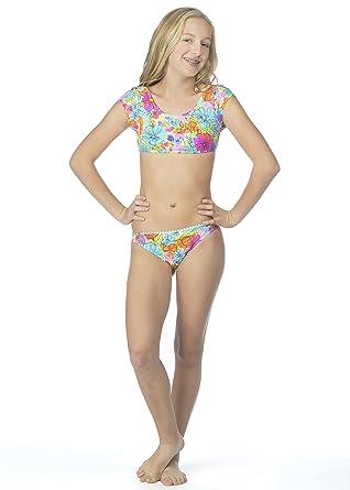 d619529853c48 Hobie Big Girls' Fleur to Love Two Piece Short Sleeve Crop Hipster Swimsuit,  Multi