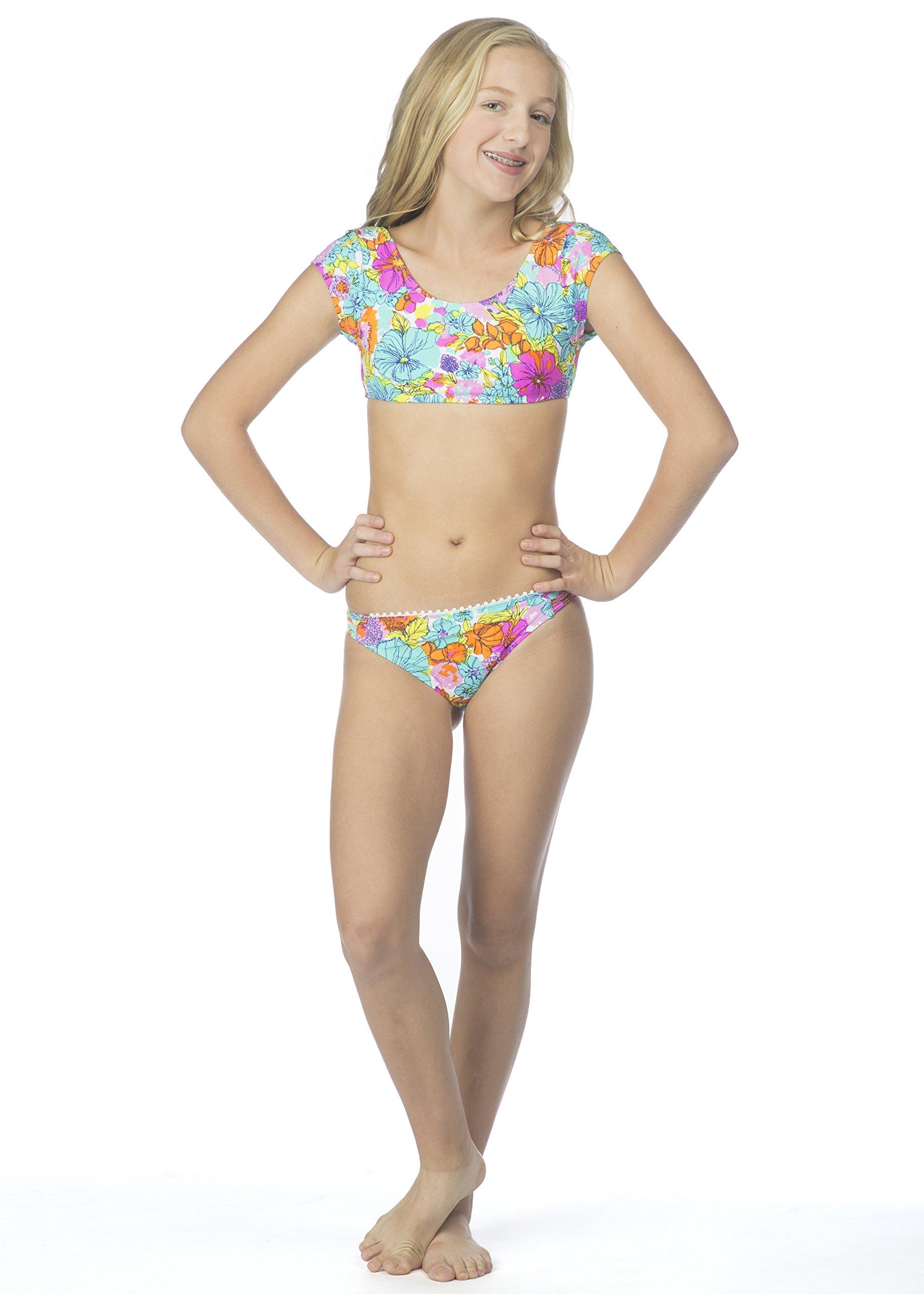 Hobie Big Girls' Fleur to Love Two Piece Short Sleeve Crop Hipster Swimsuit, Multi, 7