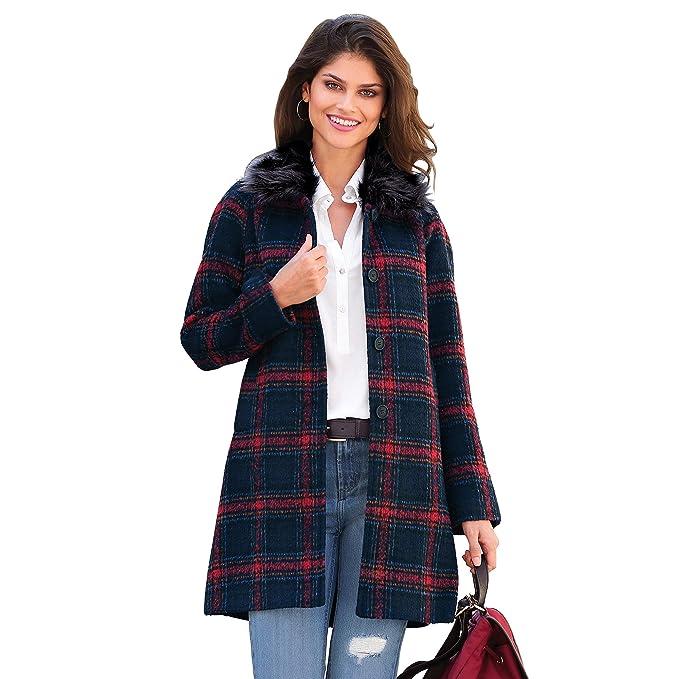 VENCA Abrigo Cuello de Pelo sintético Desmontable Mujer by Vencastyle - 008265, Rojo, S: Amazon.es: Ropa y accesorios